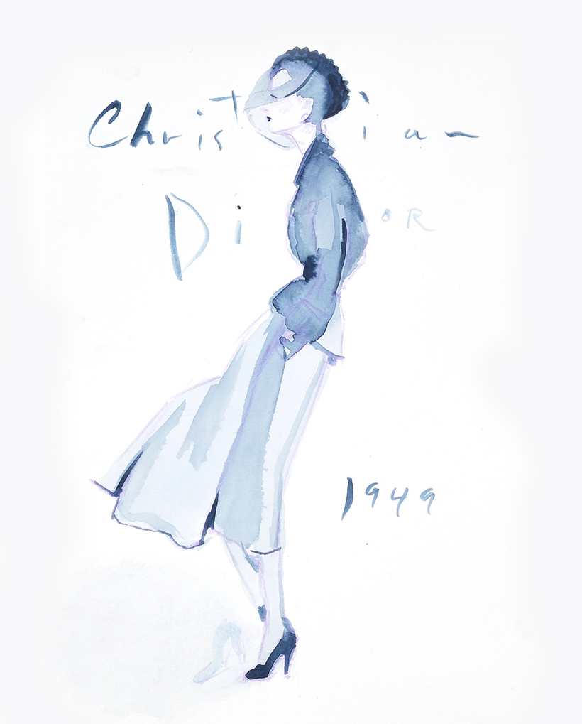 A Dior look the artist found evocative of the postwar period in Paris, where Fashion Week is now in full swing.