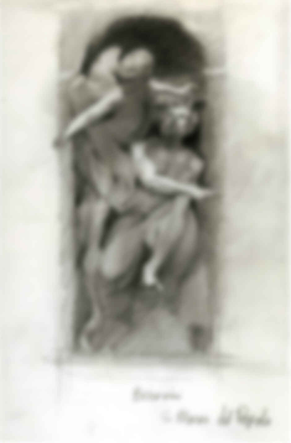 """When the artist was a student in Rome for a year in the early 90s, he filled seven sketchbooks while """"wandering the streets, drawing and painting anything and everything."""" This particular sketch, he says, is of """"Bernini's beautiful sculpture (his sculptures are all beautiful) titled Habakkuk and the Angel, in Santa Maria del Popolo."""""""