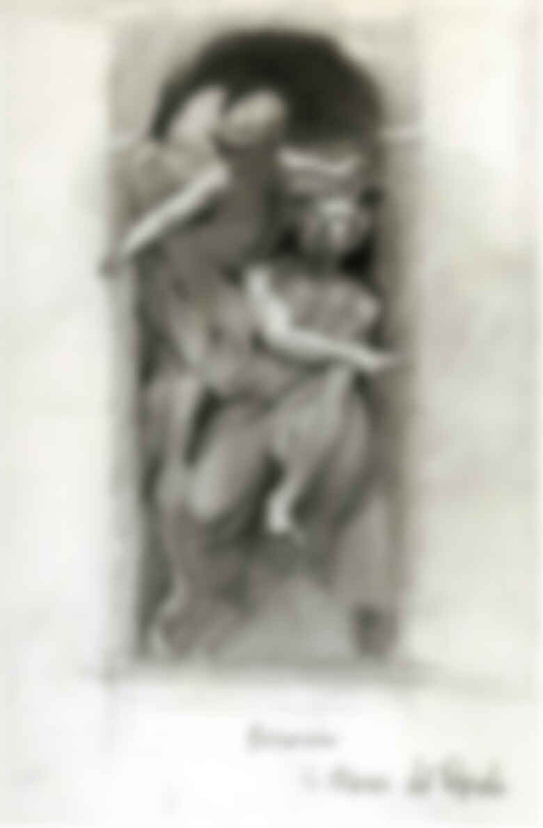 "When the artist was a student in Rome for a year in the early 90s, he filled seven sketchbooks while ""wandering the streets, drawing and painting anything and everything."" This particular sketch, he says, is of ""Bernini's beautiful sculpture (his sculptures are all beautiful) titled Habakkuk and the Angel, in Santa Maria del Popolo."""