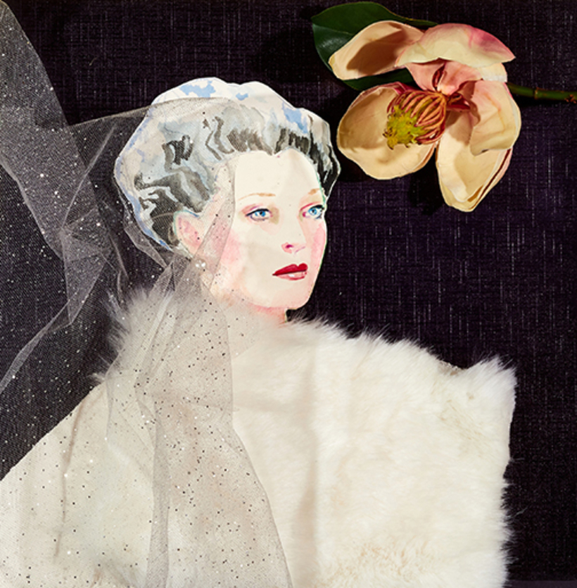 """""""I have a bit of an obsession with Mona Bismarck. In my opinion, she was truly the most exquisite style icon of the 20th century. I loved drawing her catlike aquamarine eyes and silver hair.""""—Cathy Graham"""