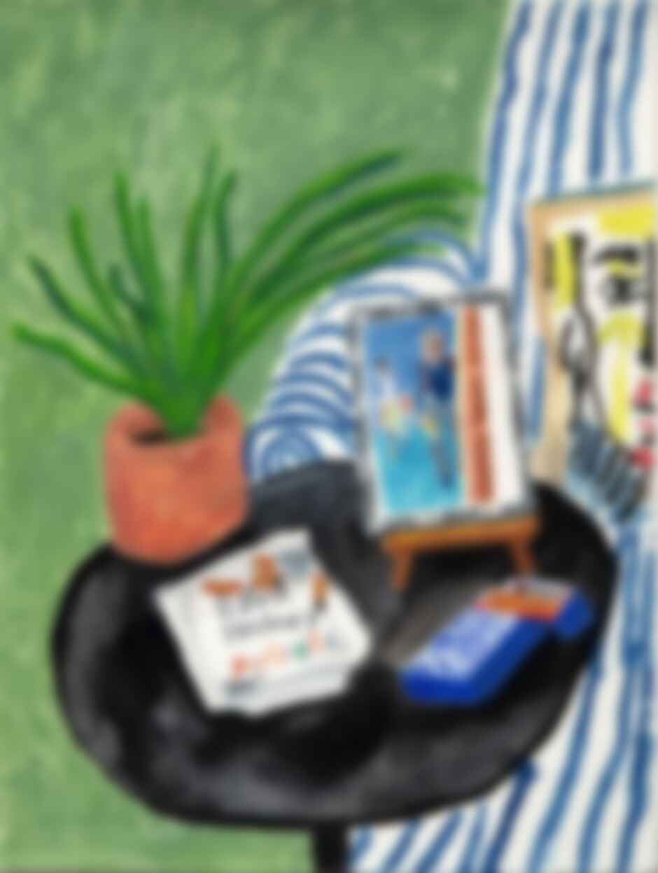 """This is a corner of my apartment in New York. I painted it for David Hockney's Christmas present in December. The cigarette case was a gift from David, and the pillow on the right alludes to our mutual admiration of Picasso."""