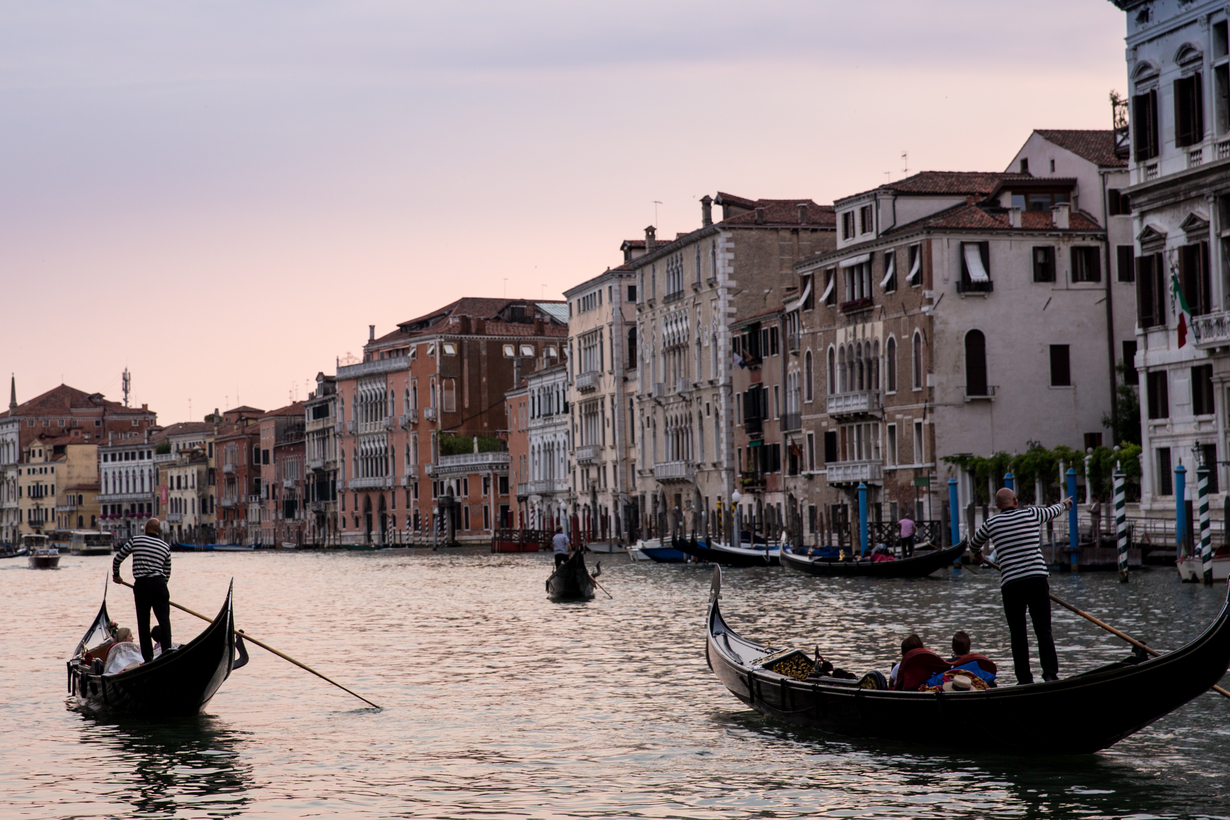 Sunset on Venice's Grand Canal.