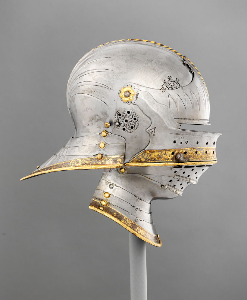 """Combination Sallet and Bevor of Maximilian I. German (Augsburg), ca. 1495. """"The Last Knight: The Art, Armor, and Ambition of Maximilian I"""" is on view at the Metropolitan Museum of Art in New York through January 5, 2020."""