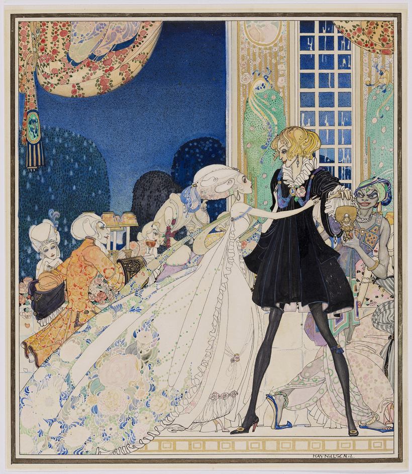"""The Twelve Dancing Princesses,"" a Brothers Grimm fairy tale, was illustrated by Kay Nielsen for In Powder and Crinoline, published in 1913."