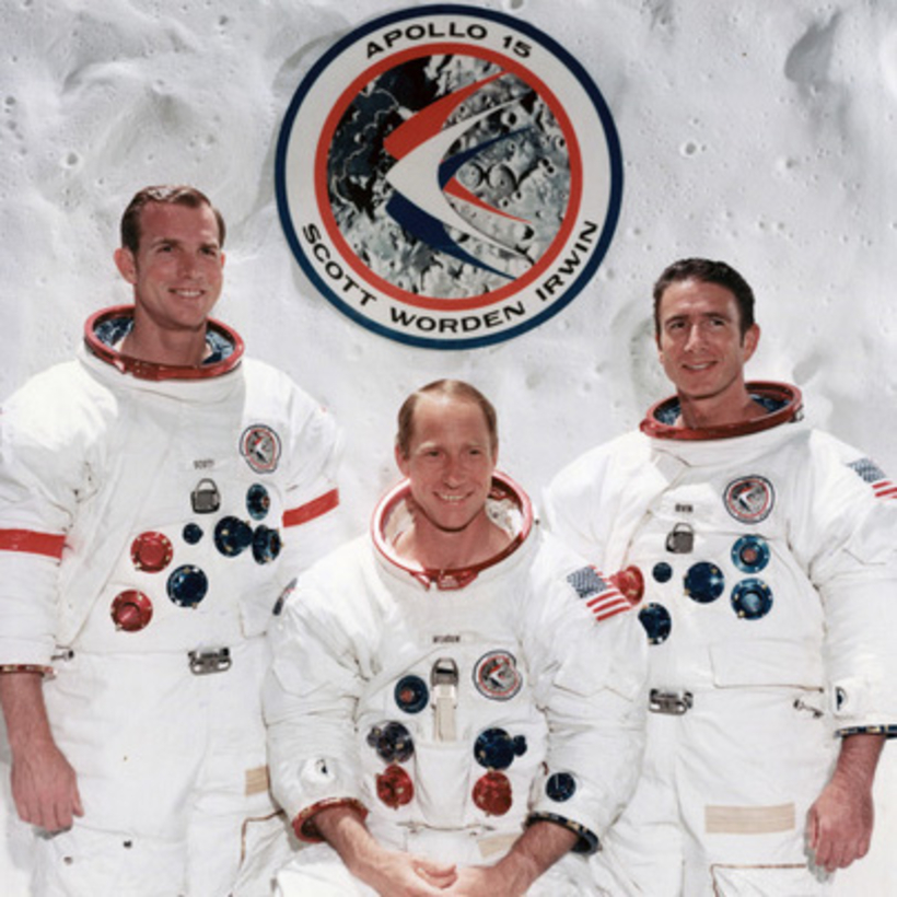 The crew of Apollo 15 in Houston, 1971. From left: David R. Scott (mission commander), Alfred M. Worden (command-module pilot), and James B. Irwin (lunar-module pilot).
