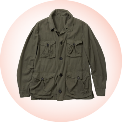 A cotton safari jacket in olive green.
