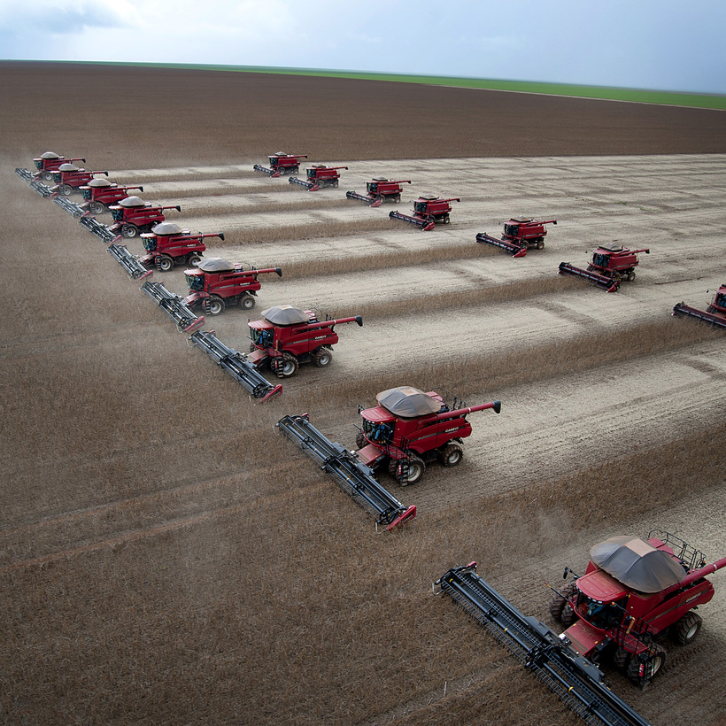 Greetings from the Anthropocene: in Brazil, combines harvest soybeans on land that was part of the rain forest.