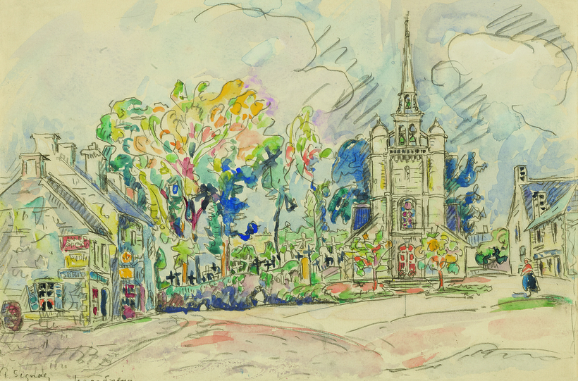 Signac's Lézardrieux, l'Église is estimated to sell for $20,000 to $30,000 at Sotheby's.