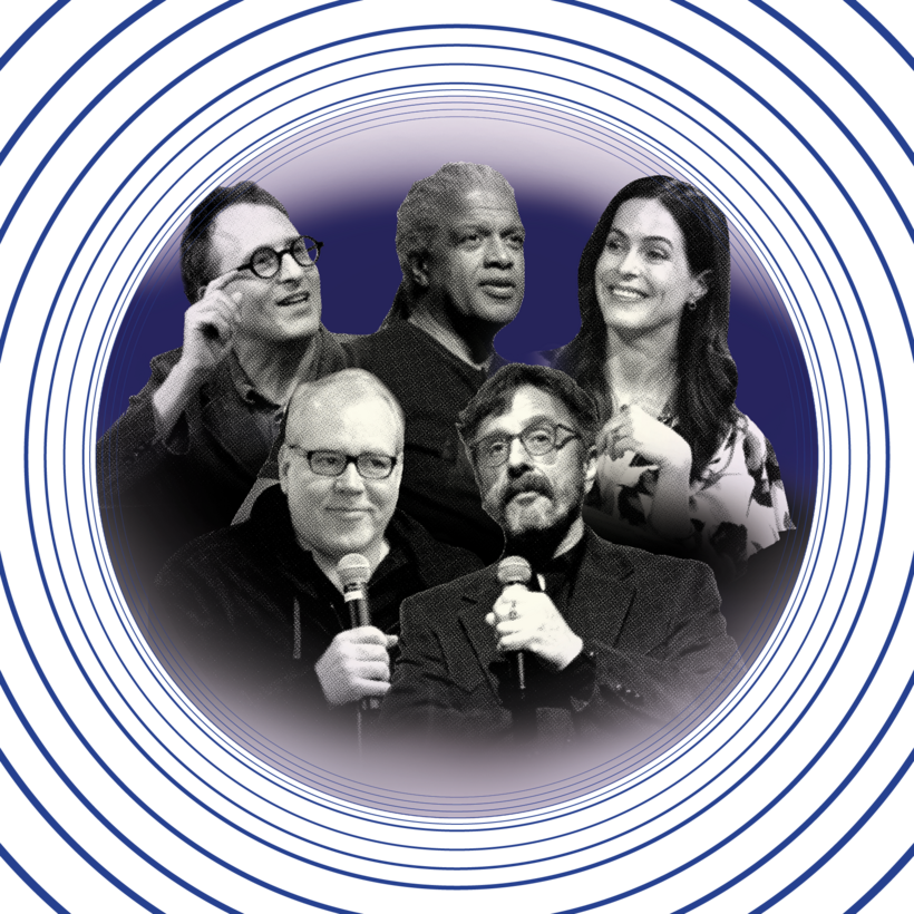Clockwise from top left: podcasters Jon Ronson, Elvis Mitchell, Bethany McLean, Marc Maron, and Bret Easton Ellis.