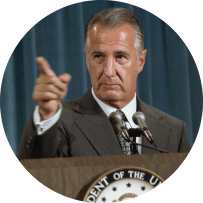 Vice President Spiro Agnew at a news conference called to answer accusations of corruption and wrongdoing by him, August 8, 1973.