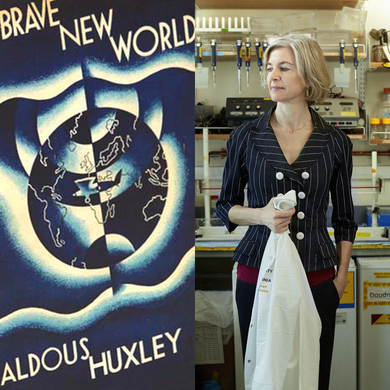 From left: the original edition of Brave New World, from Chatto & Windus, London, 1932; brave new Jennifer Doudna, pioneer in CRISPR technology, in her lab, in Berkeley, California.