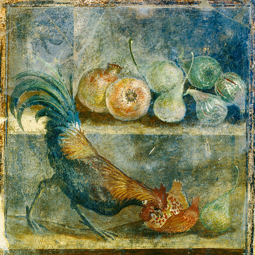 Pompeii, House of the Chaste Lovers, a fresco dating to 45–79 A.D., from an exhibition at the Ashmolean Museum, Oxford.