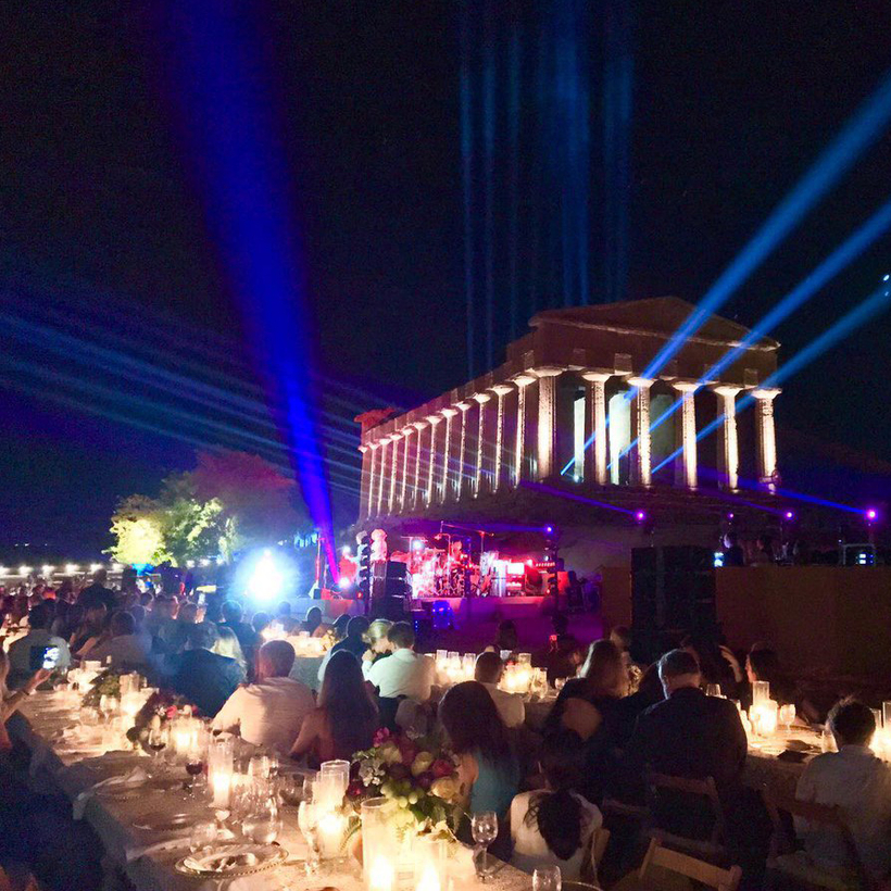 A V.I.P. concert and dinner at the Valley of the Temples ruins.