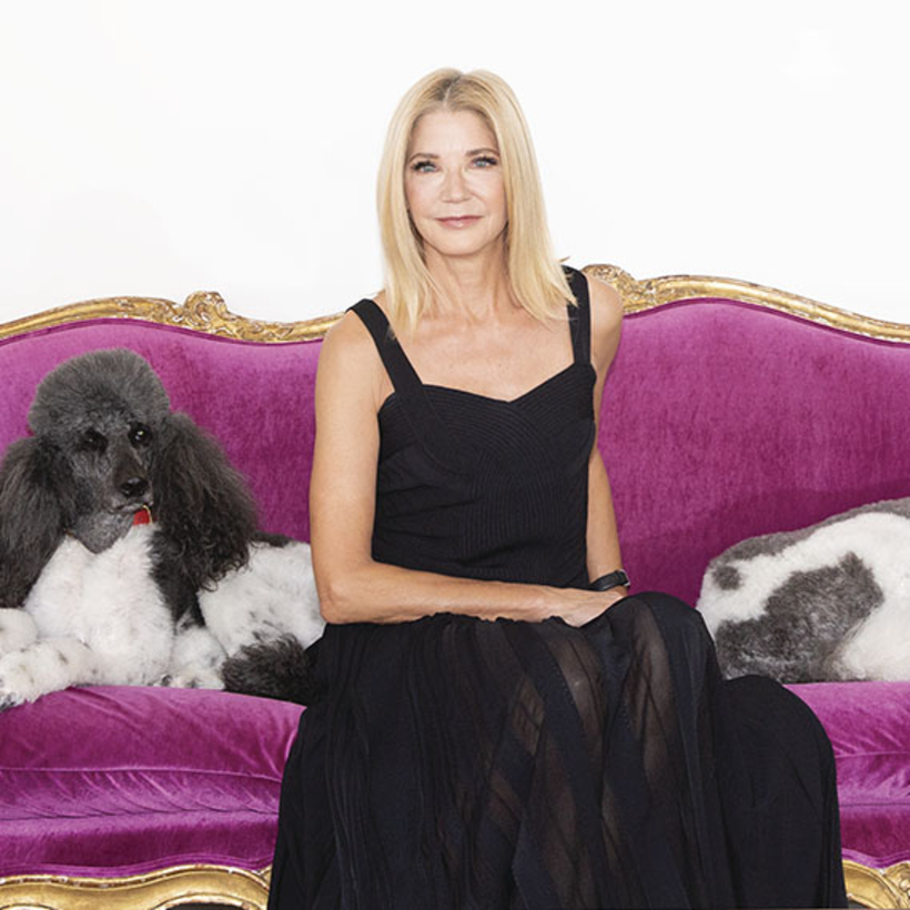 Candace Bushnell, in character, poses in her East Side apartment.