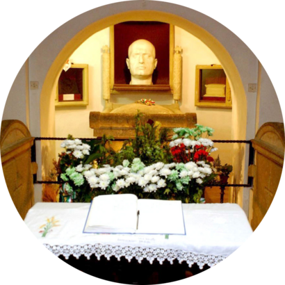 Benito Mussolini's crypt, in Predappio, Italy—his birthplace—in June 2004.