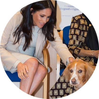 "Meghan Duchess of Sussex visit to 'Mayhew' animal welfare charity, London, UK - 16 Jan 2019 - Meghan Duchess of Sussex meets ""Roobarb"""