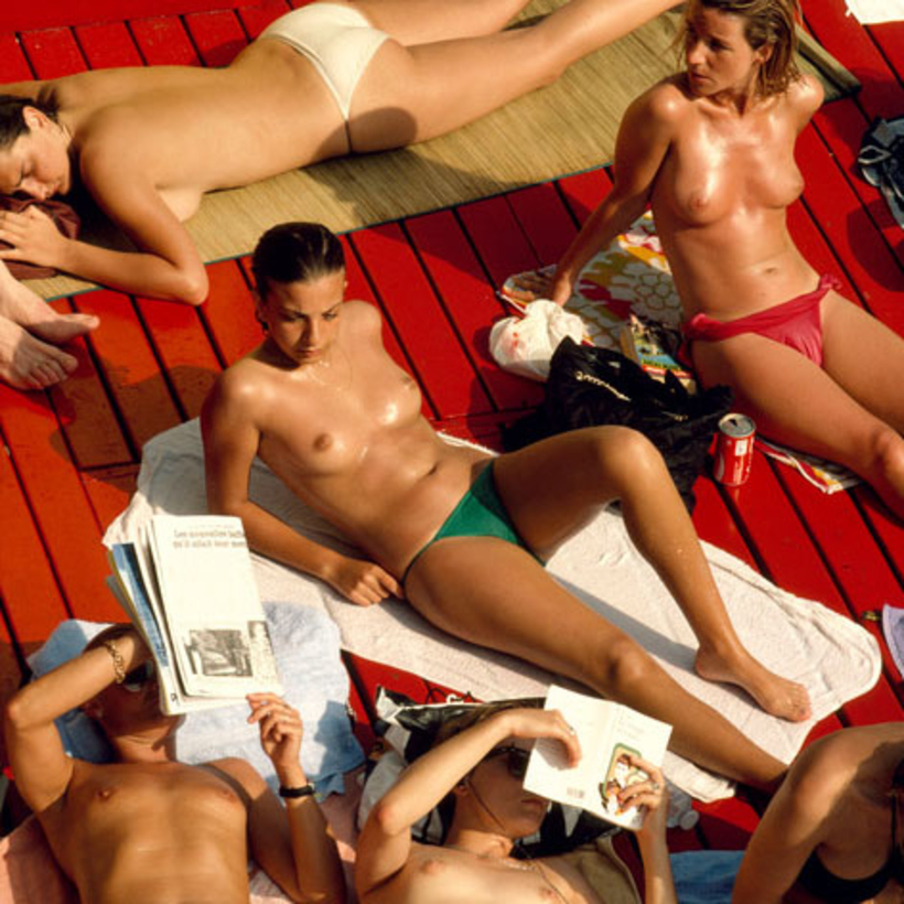 The lost art of sein-sational sunbathing, as seen at the Deligny swimming pool, in Paris, 1987.