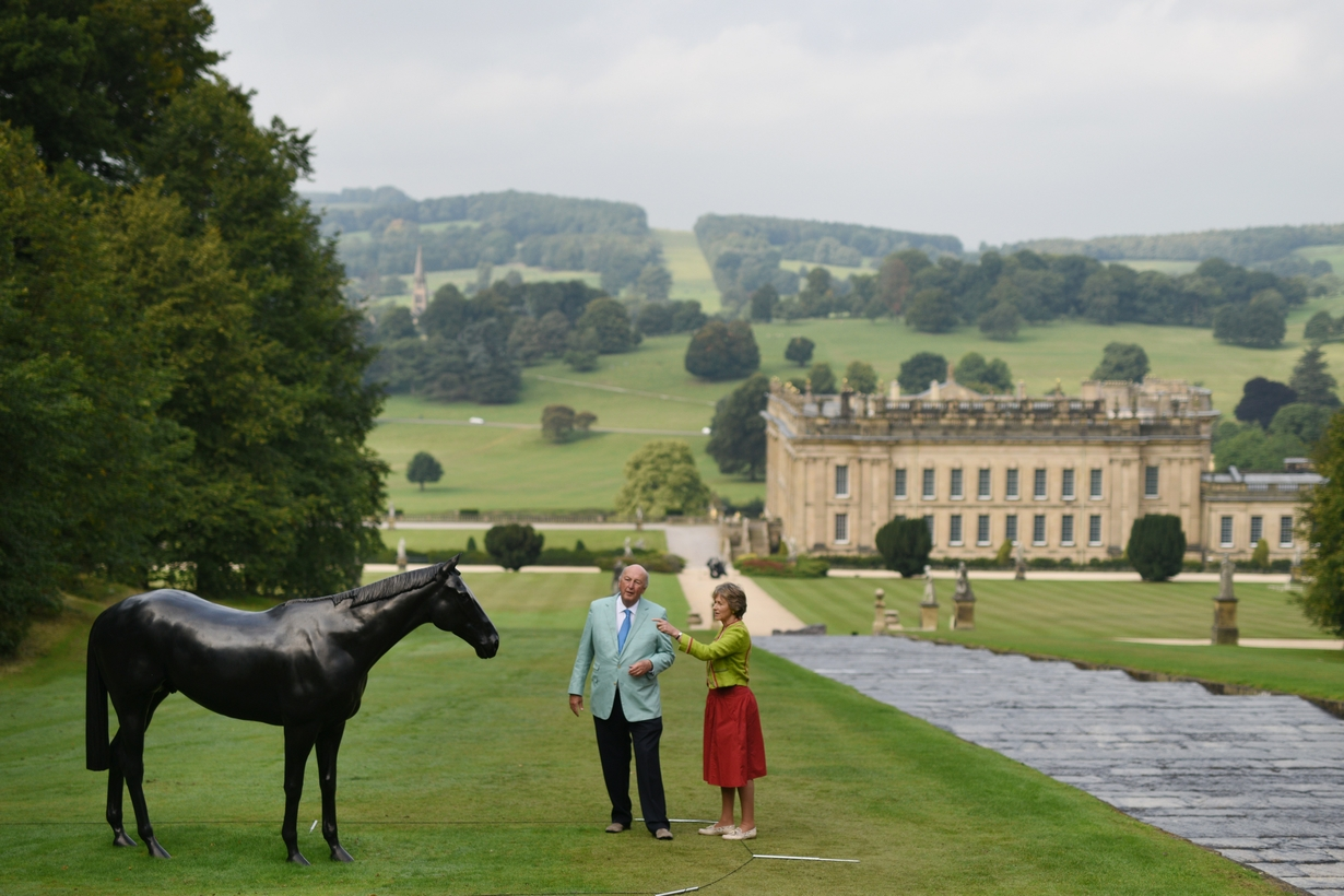 The Duke and Duchess of Devonshire on the grounds of Chatsworth in 2015.