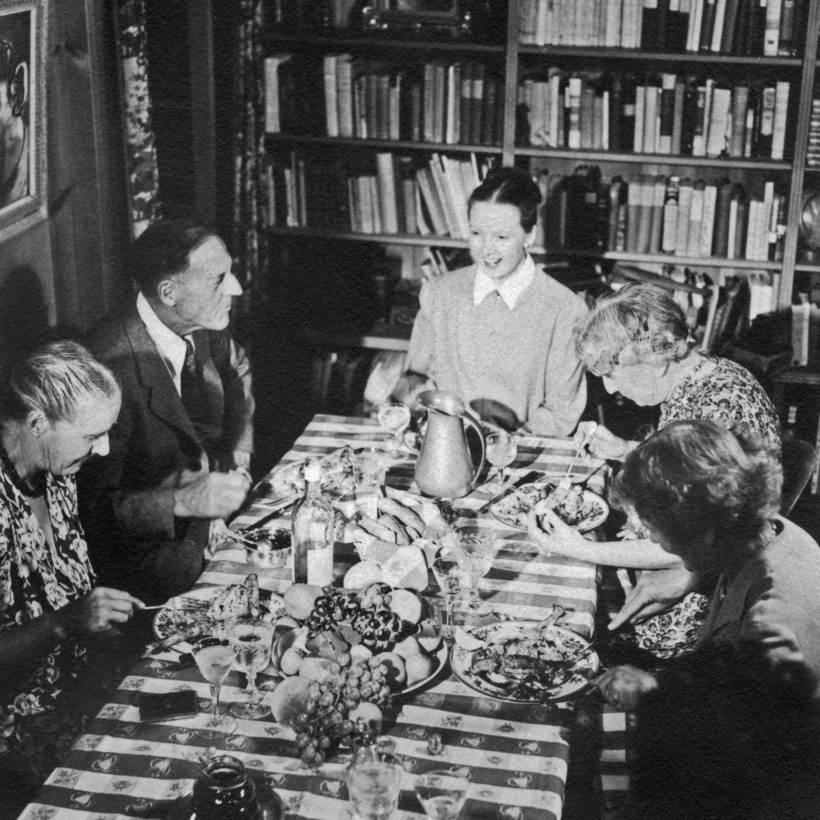 M. F. K. Fisher entertaining at home in California, 1944.