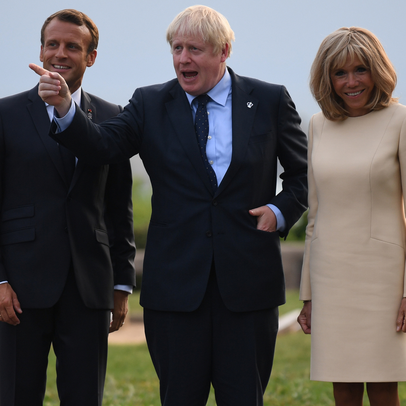 Flanked by the Macrons, Boris Johnson does his Churchill bit in Biarritz earlier this month.