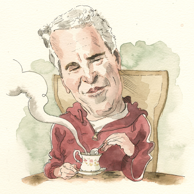 Jeffrey Epstein, in his customary tracksuit, stirs a cup of tea. Phalanx of young female assistants not pictured.