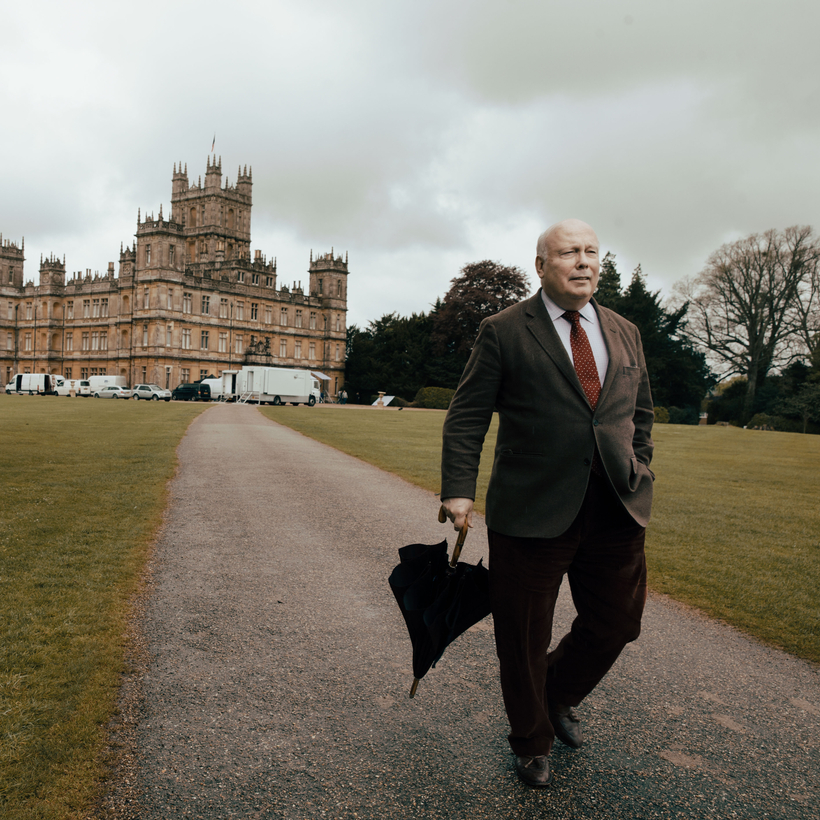 Julian Fellowes on the set of Downtown Abbey.