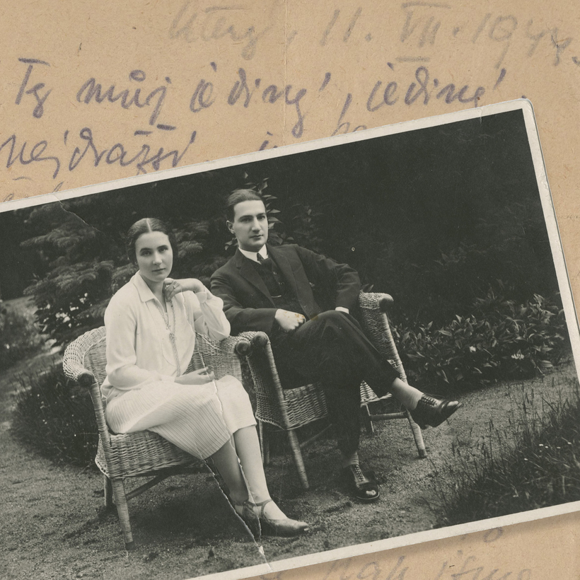 Vilma Eisenstein and Kurt Grünwald's engagement photograph. In the background is the letter Vilma wrote to her husband shortly before she was killed at Auschwitz.
