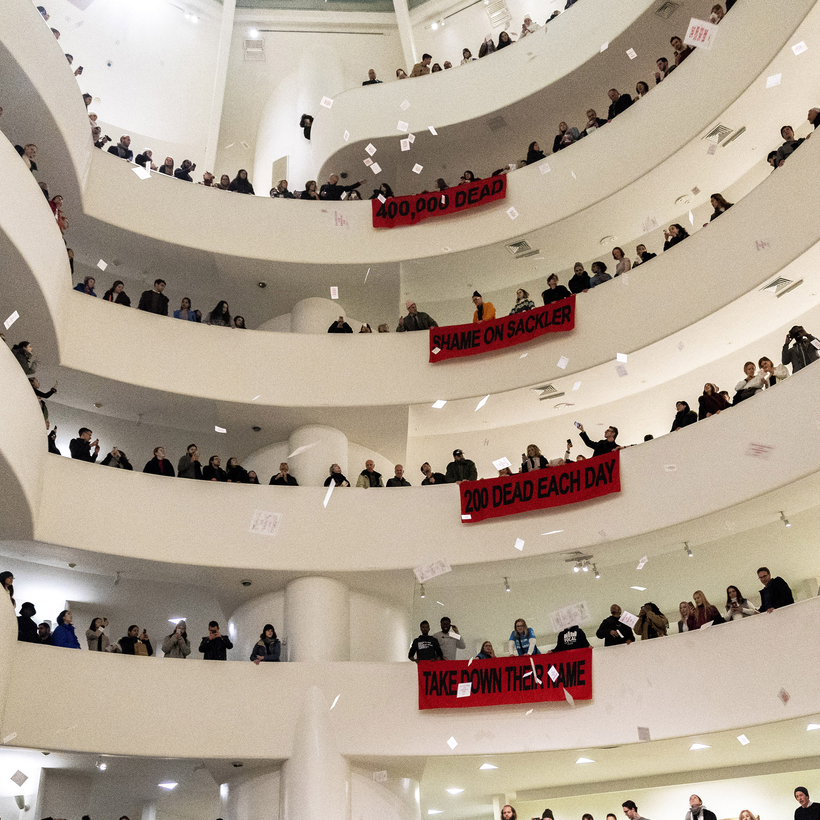 A protest against the Sacklers, the family behind OxyContin, at the Guggenheim Museum in February.