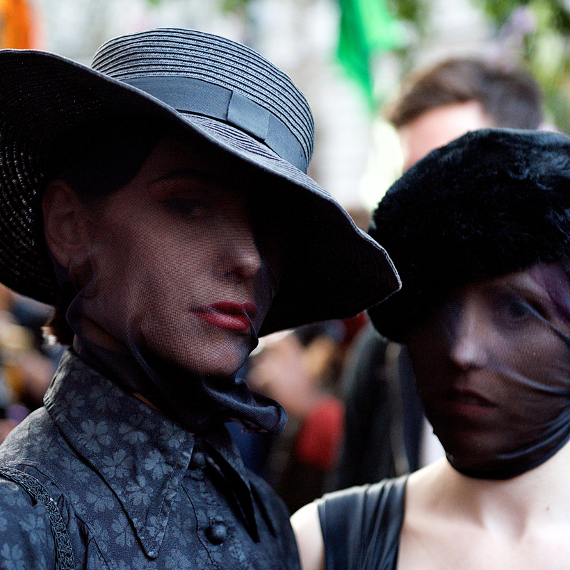 "During London Fashion Week, marchers dressed as mourners said the fashion industry had to take responsibility for its role in creating a ""toxic system of consumption."""