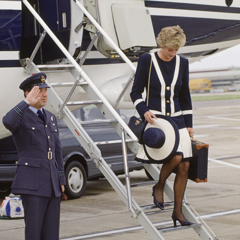 Carry on! Princess Diana arriving at Heathrow with her Tanner Krolle suitcase in 1993.