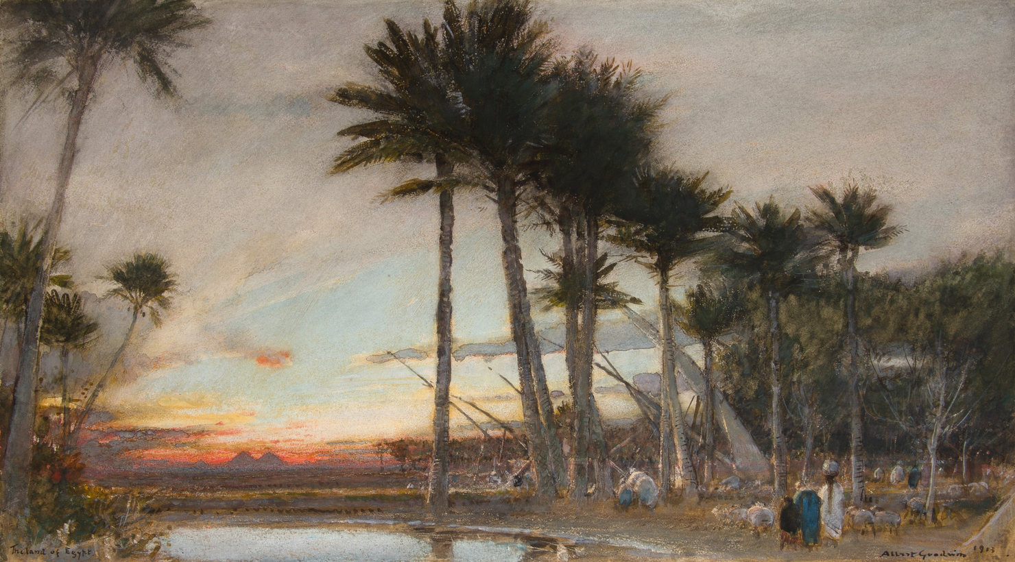 "The Land of Egypt, by Albert Goodwin, 1913. ""In Search of Sun and Shadow: The Art of Albert Goodwin RWS"" is on view at the Chris Beetles Gallery, in London, through early November."