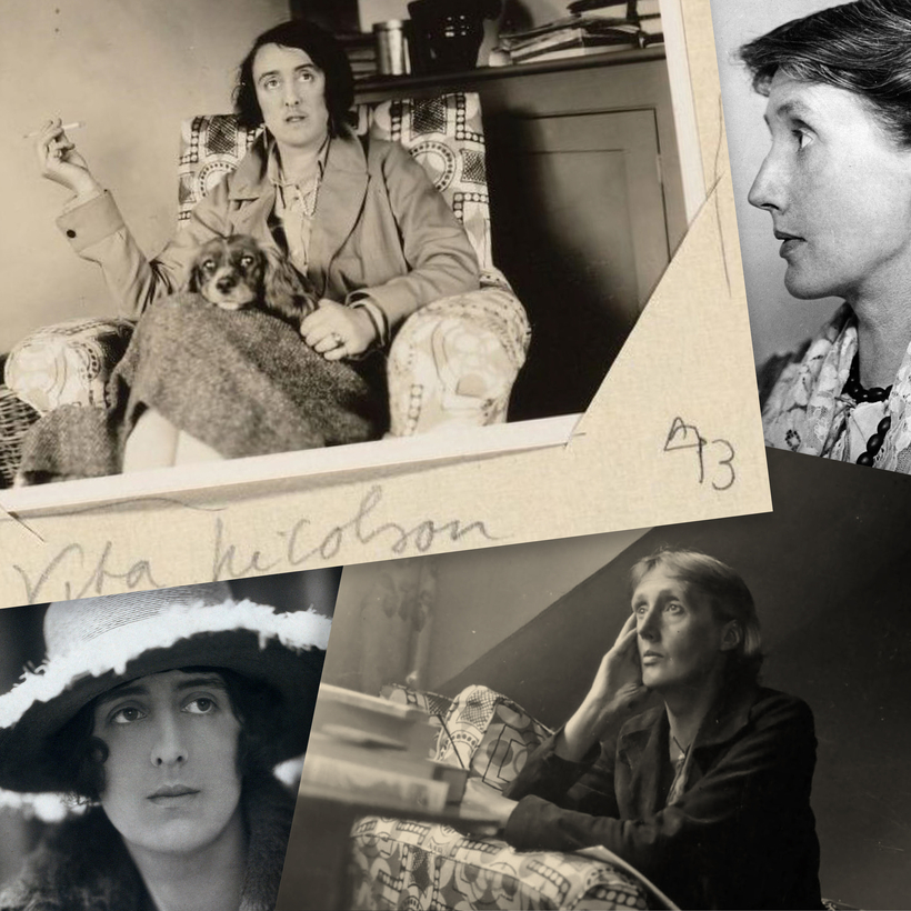 Clockwise from top left: Vita Sackville-West and her dog at Monk's House; Virginia Woolf, circa 1920s; Woolf at home, circa 1928; Sackville-West, circa 1910.