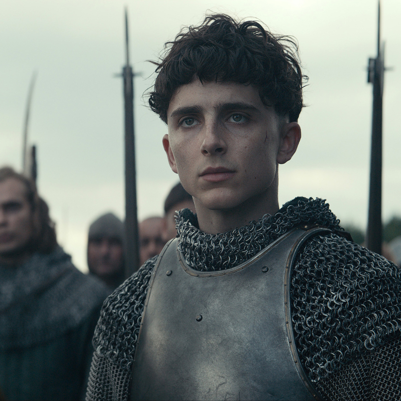 Timothée Chalamet as Henry V in The King.