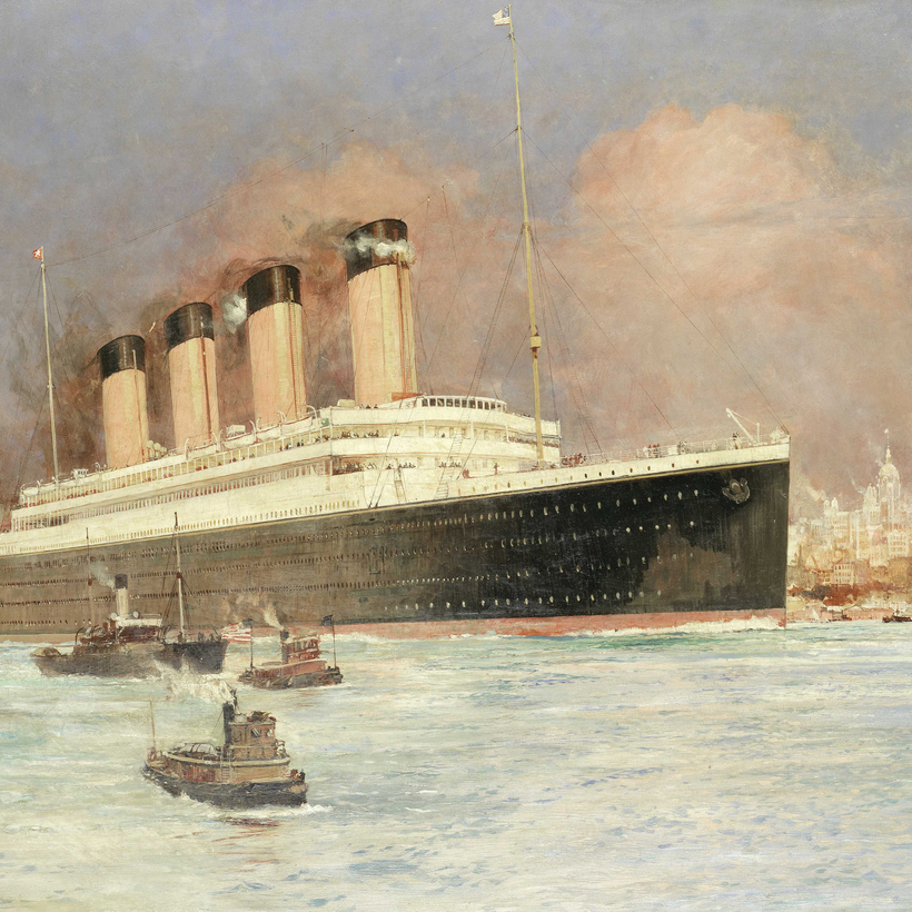 Charles Edward Dixon's RMS Olympic off New York will go to auction at Bonhams at the end of the month.