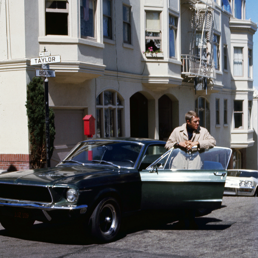 Steve McQueen in Bullitt. The Mustang, one of two used in the film, is expected to go for millions.