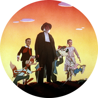 Shown from left: Br'er Fox (voice: James Baskett), Bobby Driscoll (as Johnny), James Baskett (as Uncle Remus), Br'er Bear (voice: Nicodemus Stewart), Luana Patten (as Ginny), Br'er Rabbit (voice: Johnny Lee) in Song of the South (1946).