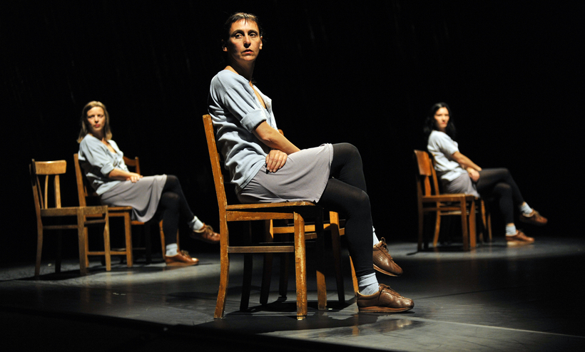 Samantha van Wissen, Anne Teresa De Keersmaeker, and Cynthia Loemij perform in Rosas Danst Rosas at the Sadler's Wells Dance House, in London. The dance went on to inspire an at-home project, Re:Rosas!